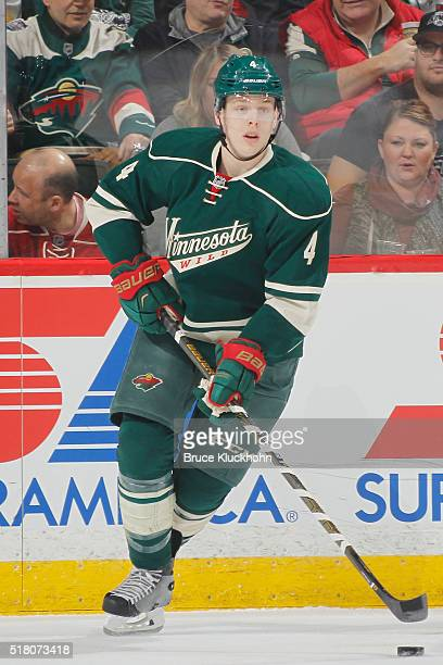 Mike Reilly of the Minnesota Wild skates with the puck against the Los Angeles Kings during the game on March 22 2016 at the Xcel Energy Center in St...