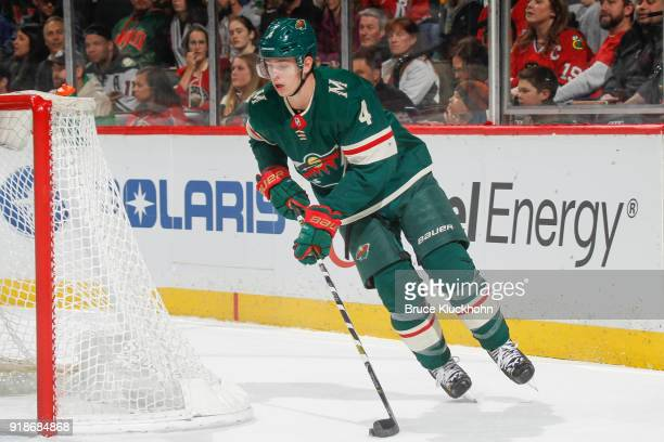 Mike Reilly of the Minnesota Wild skates with the puck against the Chicago Blackhawks during the game at the Xcel Energy Center on February 10 2018...