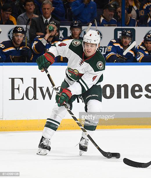Mike Reilly of the Minnesota Wild takes a shot against the St Louis Blues on October 13 2016 at Scottrade Center in St Louis Missouri