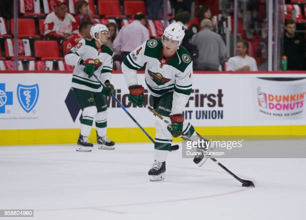 Mike Reilly of the Minnesota Wild warms up for a game against the Detroit Red Wings during the first period at Little Caesars Arena on October 5 2017...