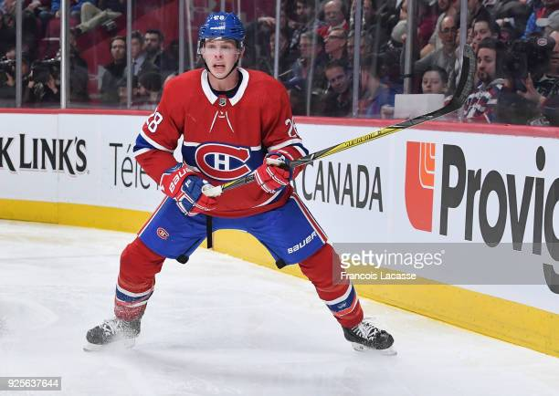 Mike Reilly of the Montreal Canadiens during the game against the New York Islanders in the NHL game at the Bell Centre on February 28 2018 in...