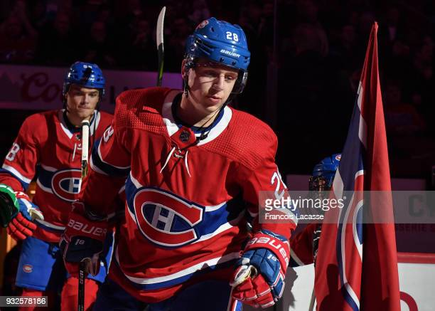 Mike Reilly of the Montreal Canadiens skates on the ice before the NHL game against the Pittsburgh Penguins in the NHL game at the Bell Centre on...