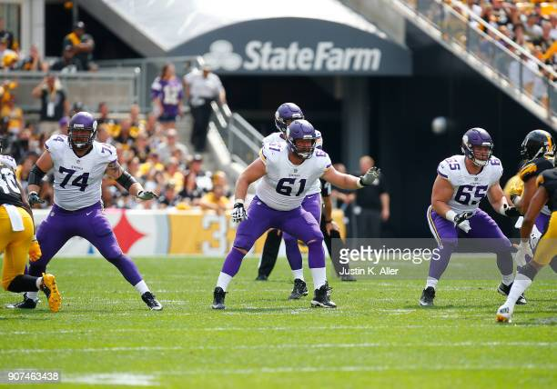 Mike Remmers Joe Berger and Pat Elflein of the Minnesota Vikings in action against the Pittsburgh Steelers on September 17 2017 at Heinz Field in...