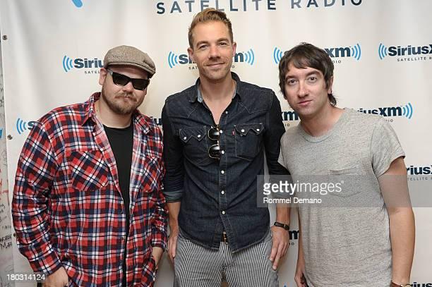 Mike Retondo Tim Lopez and Tom Higgenson of Plain White T's visit SiriusXM Studios on September 11 2013 in New York City
