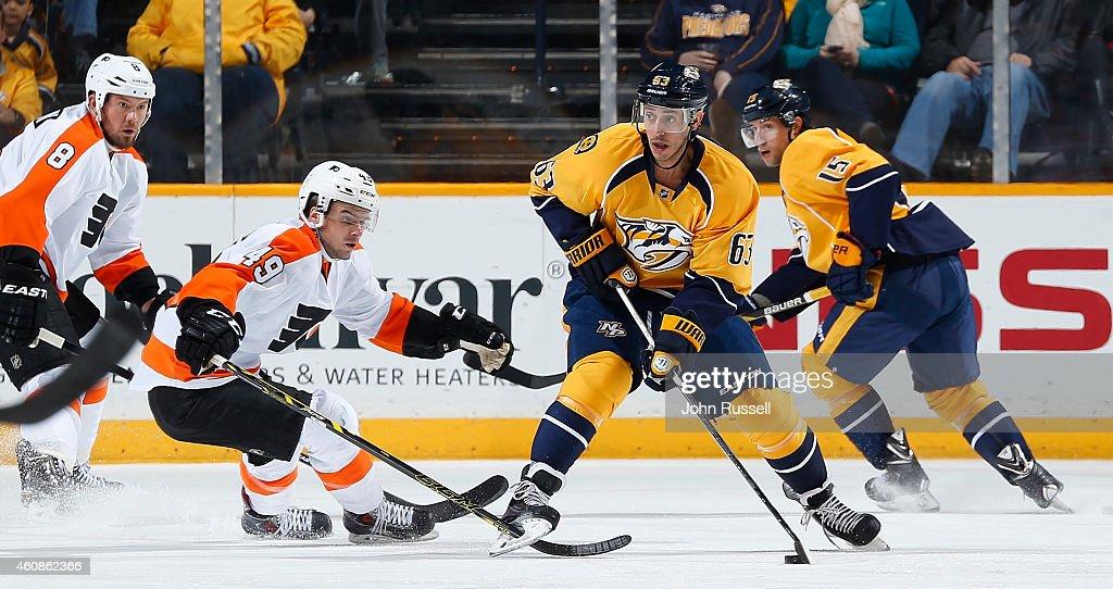 Mike Ribeiro #63 of the Nashville Predators looks to pass against Scott Laughton #49 of the Philadelphia Flyers at Bridgestone Arena on December 27, 2014 in Nashville, Tennessee.