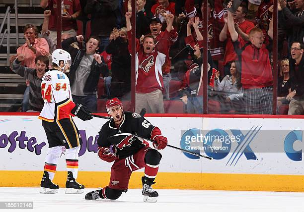 Mike Ribeiro of the Phoenix Coyotes celebrates after scoring a third period goal against the Calgary Flames during the NHL game at Jobingcom Arena on...