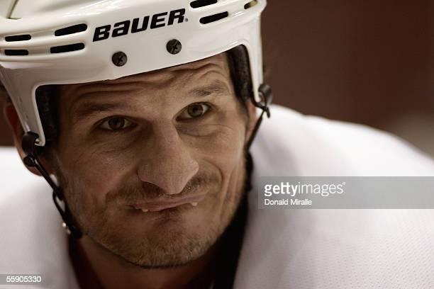 Mike Ricci of the Phoenix Coyotes looks on during warm up prior to their preseason NHL game against the Anaheim Mighty Ducks on September 23 2005 at...