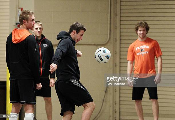 Mike Richards Jeff Carter and Claude Giroux of the Philadelphia Flyers play a game of soccer prior to their game against the Florida Panthers on...