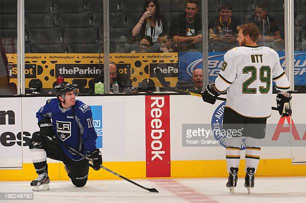 Mike Richards of the Los Angeles Kings and Steve Ott of the Dallas Stars warm up prior ot the game at Staples Center on October 22, 2011 in Los...