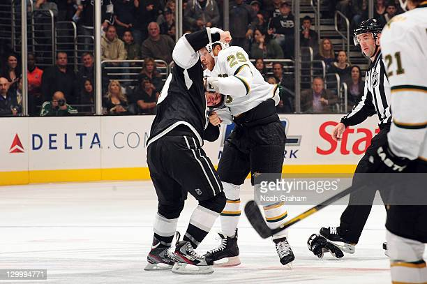 Mike Richards of the Los Angeles Kings fights against Steve Ott of the Dallas Stars at Staples Center on October 22, 2011 in Los Angeles, California.