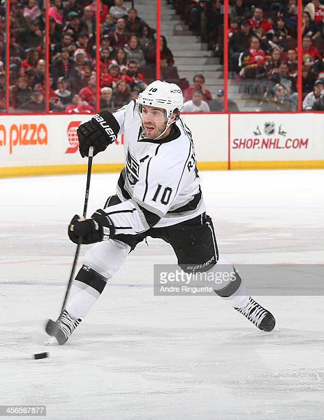 Mike Richards of the Los Angeles Kings shoots the puck from the point on a powerplay against the Ottawa Senators at Canadian Tire Centre on December...