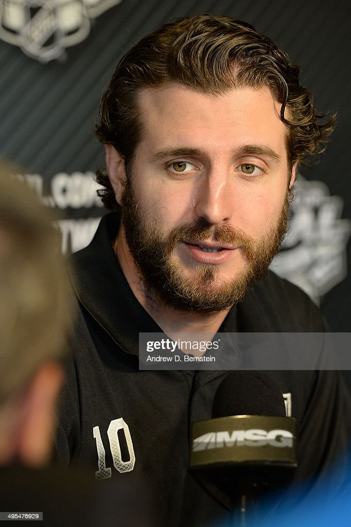 Mike Richards #10 of the Los Angeles Kings speaks to the media during the 2014 NHL Stanley Cup Final Media Day at Staples Center on June 3, 2014 in Los Angeles, California.