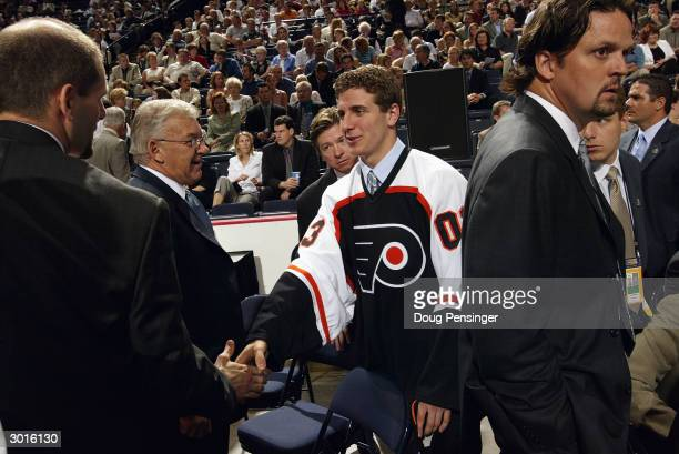 Mike Richards of the Philadelphia Flyers is introduced to his new team during the 2003 NHL Entry Draft at the Gaylord Entertainment Center on June...