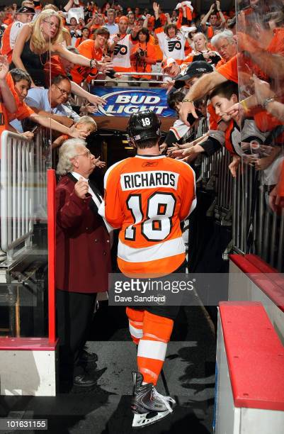 Mike Richards of the Philadelphia Flyers leaves the ice after his team defeated the Chicago Black Hawks 53 in Game Four of the 2010 NHL Stanley Cup...