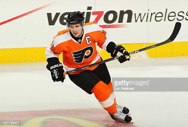 Mike Richards of the Philadelphia Flyers skates against the Florida Panthers on December 20 2010 at the Wells Fargo Center in Philadelphia...
