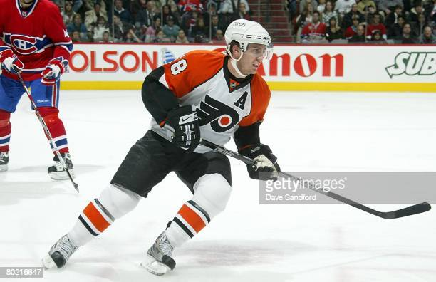 Mike Richards of the Philadelphia Flyers skates against the Montreal Canadiens during their NHL game at the Bell Centre on February 16, 2008 in...