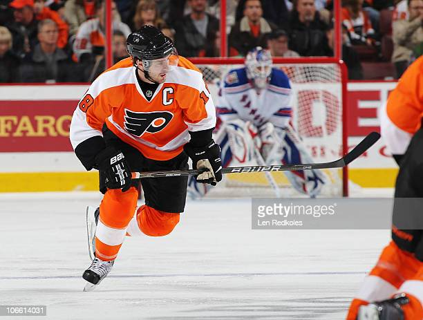 Mike Richards of the Philadelphia Flyers skates against the New York Rangers on November 4 2010 at the Wells Fargo Center in Philadelphia...
