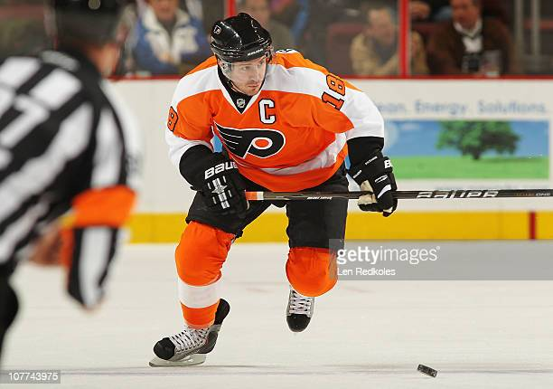 Mike Richards of the Philadelphia Flyers skates with the puck against the Pittsburgh Penguins on December 14 2010 at the Wells Fargo Center in...