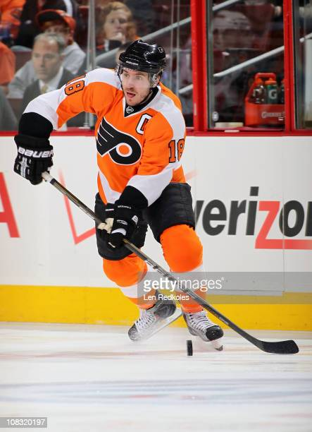 Mike Richards of the Philadelphia Flyers skates with the puck against the New Jersey Devils on January 22 2011 at the Wells Fargo Center in...