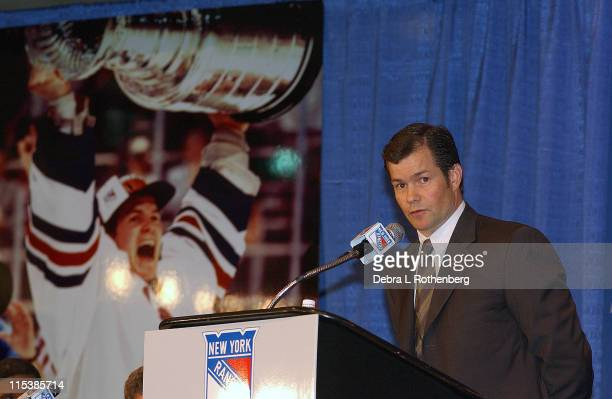 Mike Richter during Press Conference to Announce the Retirement of New York Rangers' Goaltender Mike Richter at Madison Square Garden in New York...