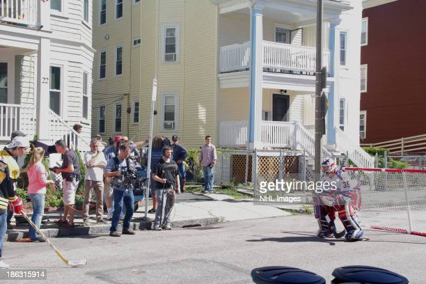 Mike Richter of the New York Rangers performs on the set of the 2013 Discover NHL Thanksgiving Showdown NBC Commercial Shoot on September 14 2013 in...