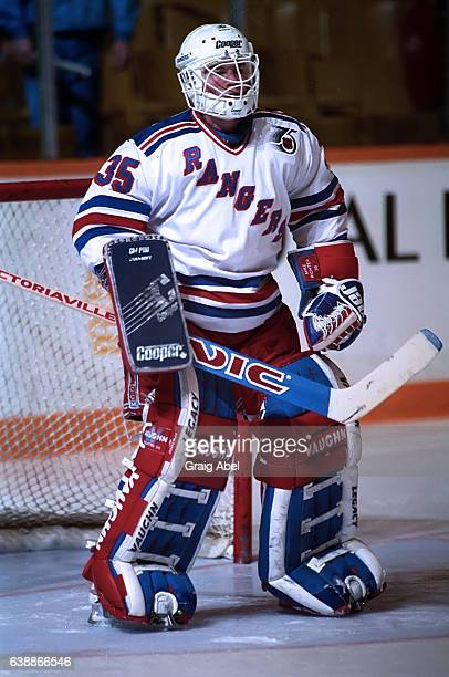 Mike Richter of the New York Rangers skates in warmup prior to a game against the Toronto Maple Leafs on April 15 1992 at Maple Leaf Gardens in...