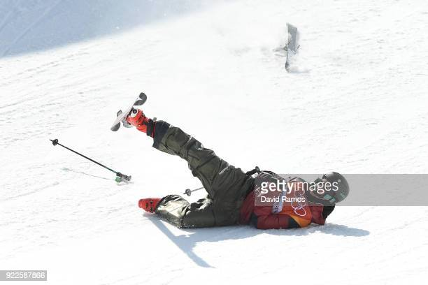 Mike Riddle of Canada crashes during the Freestyle Skiing Men's Ski Halfpipe Final on day thirteen of the PyeongChang 2018 Winter Olympic Games at...