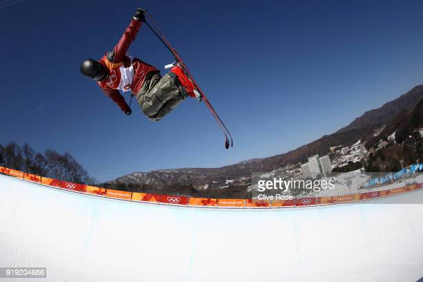 Mike Riddle of Canada in action during Freestyle Skiing Ski Halfpipe training on day eight of the PyeongChang 2018 Winter Olympic Games at Phoenix...
