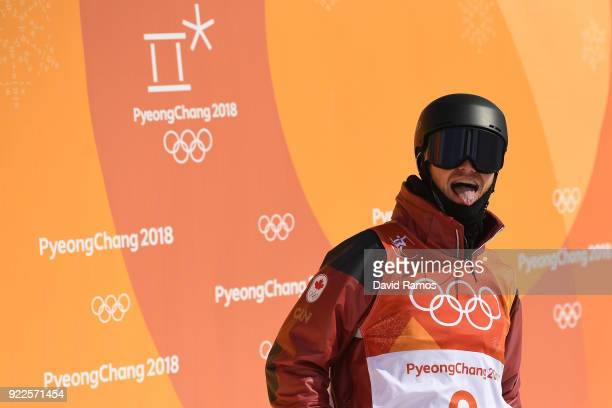 Mike Riddle of Canada reacts to his score during the Freestyle Skiing Men's Ski Halfpipe Final on day thirteen of the PyeongChang 2018 Winter Olympic...