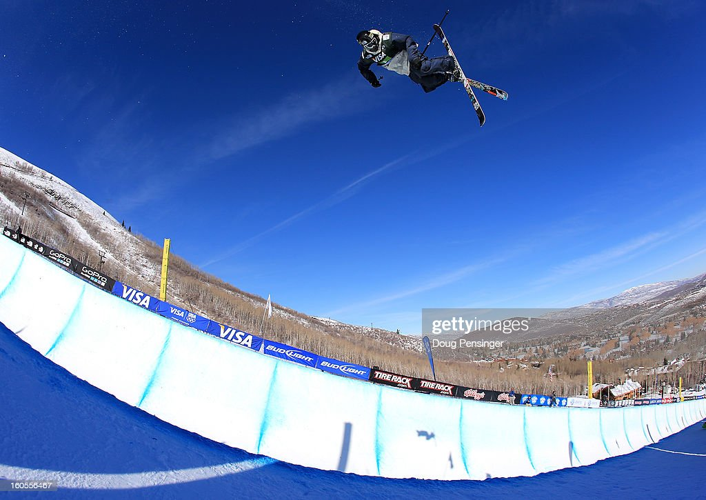 Mike Riddle of Canada takes a practice run prior to the finals of the FIS Freestyle Ski Halfpipe World Cup during the Sprint U.S. Grand Prix at Park City Mountain on February 2, 2013 in Park City, Utah.