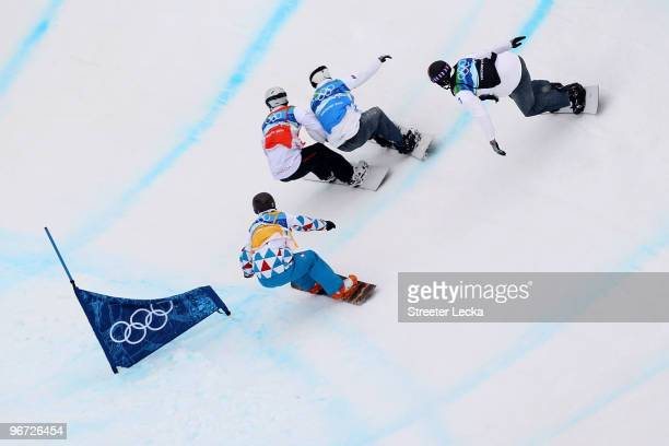 Mike Robertson of Canada, Tony Ramoin of France, Nate Holland of United States and Seth Wescott of United States compete during the Big Final of the...