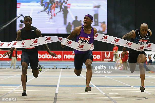 Mike Rodgers celebrates after winning the Mens 60m race duirng the New Balance Indoor Grand Prix at Reggie Lewis Center on February 14 2016 in Boston...