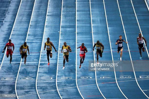 US Mike Rodgers Jamaica's Nesta Carter Jamaica's Kemar BaileyCole Jamaica's Usain Bolt US Justin Gatlin Jamaica's Nickel Ashmeade France's Christophe...