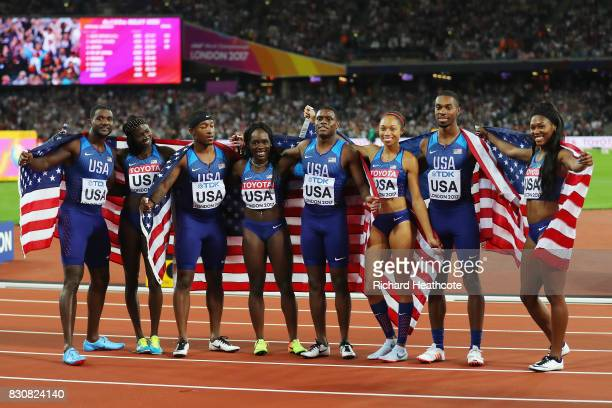 Mike Rodgers Justin Gatlin BeeJay Lee and Christian Coleman of the United States silver from the mens 4x100 Metres Relay team and Aaliyah Brown...