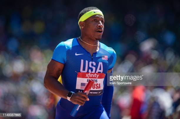Mike Rodgers of Team USA at the 125th Annual Penn Relays Track and Field Meet on April 27 at Franklin Field in Philadelphia PA