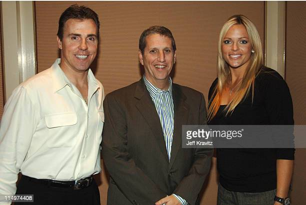 Mike Romanowski Doug Herzog and Jennie Finch during 2006 TCA MTV Networks Green Room at Ritz Carlton Hotel Pavilion Room in Pasadena California...