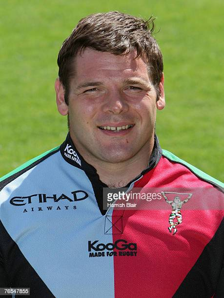 Mike Ross poses for a photo during a portrait session at the Twickenham Stoop Stadium on August 16 2007 in RichmonduponThames England