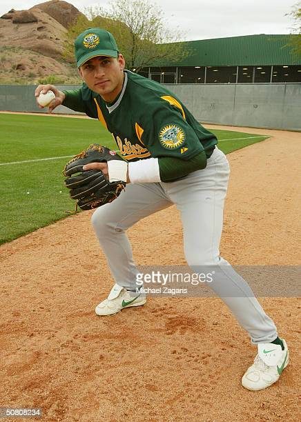 Mike Rouse of the Oakland Athletics poses for a photo during Spring Training at Phoenix Municipal Stadium on February 27 2004 in Phoenix Arizona