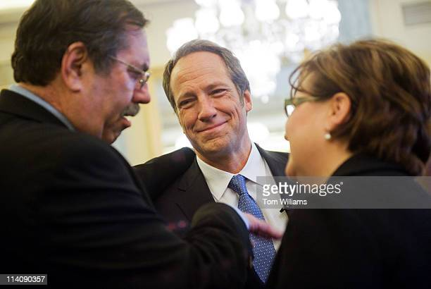 Mike Rowe center producer and host of Discovery Channel's 'Dirty Jobs' Leo Gerard president of the United Steel Workers and Stephanie Burns chairman...