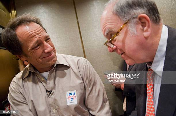 Mike Rowe left of the television series 'Dirty Jobs' talks with Rep John Spratt DSC before an event to kick of American Equipment Manufacturers...