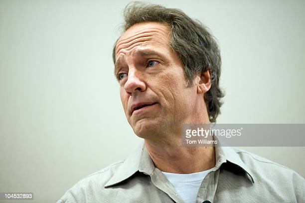 Mike Rowe of the television series 'Dirty Jobs' speaks at an event to kick of American Equipment Manufacturers advocacy campaign 'I Make America'...