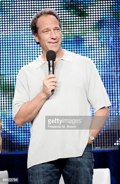 Mike Rowe of the television show 'Dirty Jobs' speaks during the Cable portion of the 2009 Summer Television Critics Association Press Tour at the...