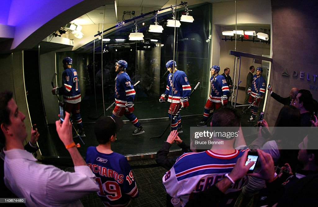 Mike Rupp #71, Ryan McDonagh #27, Dan Girardi #5, Ryan Callahan #24 and Derek Stepan #21 of the New York Rangers walk out to the ice from the dressng room to play against the Washington Capitals in Game Two of the Eastern Conference Semifinals during the 2012 NHL Stanley Cup Playoffs at Madison Square Garden on April 30, 2012 in New York City.