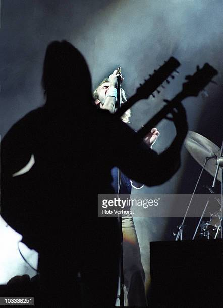 Mike Rutherford and Phil Collins of Genesis perform on stage at Ahoy on 6th September 1978 in Rotterdam Netherlands