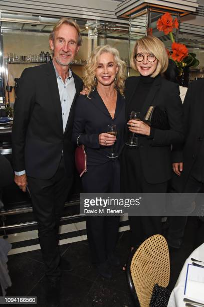 Mike Rutherford Angie Rutherford and Marianne Swannell attend the launch of John Swannell's photography exhibition at Le Caprice on February 5 2019...