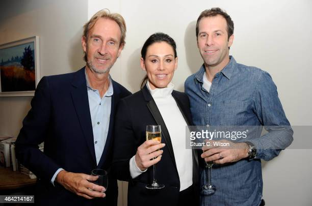 Mike Rutherford, Greg Rusedski and Lucy Connor attend the launch party for Mike Rutherford's 'The Living Year's' at 1 Alfred Place on January 21, 2014 in London, England.