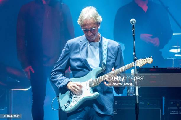 """Mike Rutherford of Genesis performs on stage """"The Last Domino Tour"""" at The SSE Hydro on October 07, 2021 in Glasgow, Scotland."""