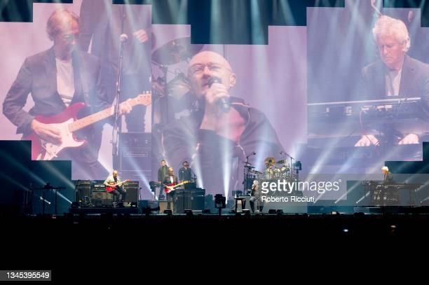 """Mike Rutherford, Phil Collins and Tony Banks of Genesis perform on stage """"The Last Domino Tour"""" at The SSE Hydro on October 07, 2021 in Glasgow,..."""