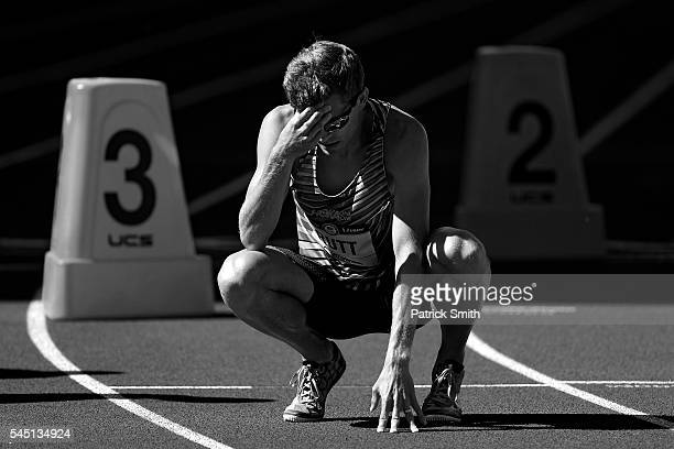 Mike Rutt reacts after finishing in 26th place in the Men's 800m first round during the 2016 US Olympic Track Field Team Trials at Hayward Field on...