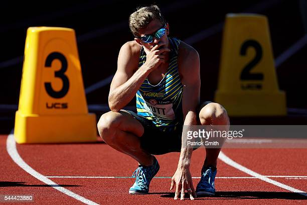 Mike Rutt reacts in the first round of the Men's 800 Meter during the 2016 US Olympic Track Field Team Trials at Hayward Field on July 1 2016 in...